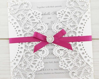 SAMPLE * Doily Laser Cut Wedding Invitation with Diamante Cluster