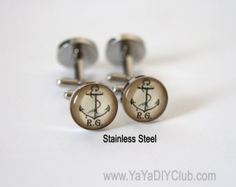 Anchor gift, Anchor cuff links, Nautical gift Personalized Cufflinks for groomsman, nautical wedding gift nautical cuff links