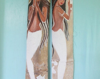 Pair of Afro Caribbean Mermaids- bathroom decor beach decor original art white beach decor