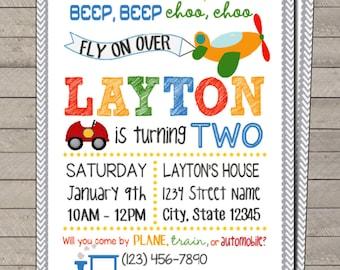 Transportation Birthday Invitation