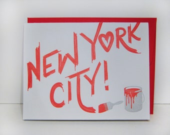 New York City - letterpress card - graffitti - paint - texture - typography - paintbrush - red - mural