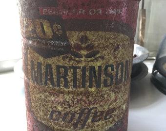 Vintage Martinson coffee tin rusty original