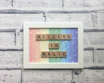 Rainbow Believe in Magic frame - rainbow frame - believe in magic - rainbow - scrabble tile frame