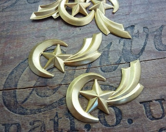 Brass Stampings Moon and Shooting Star Vintage (2)