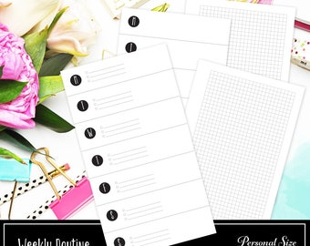 Week on One Page (WO1P) / Weekly Routine With Small Grid Personal Size Printable Insert