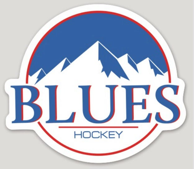 Bumper Sticker Decal Blues Hockey Busch Beer Mountains