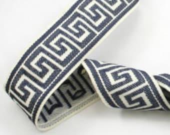 Designer Trim by The Yard  Tape navy blue  off white cream ivory Greek Key Border  Drapery Craft upholstery  bedding