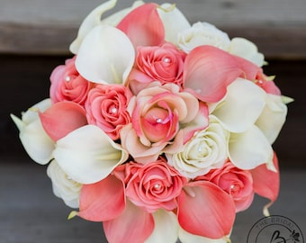 Coral wedding bouquet, Calla lily bouquet, calla lilly wedding bouquet, coral and ivory bouquet, bridal bouquet, alternative bouquet