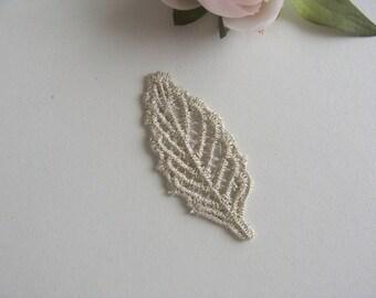 applique embroidery leaf lace cotton flat 5, 5 * 2, 3 cm white gold