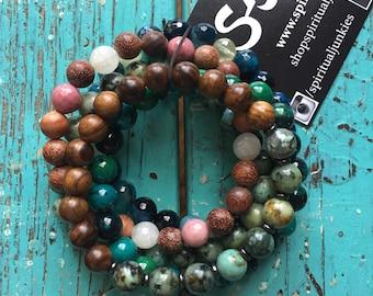 Heart Chakra | Wood, African Turquoise, Chrysocolla, Agate, Prehnite, Rhodonite + Moonstone | Spiritual Junkies | 5 Yoga Bracelets