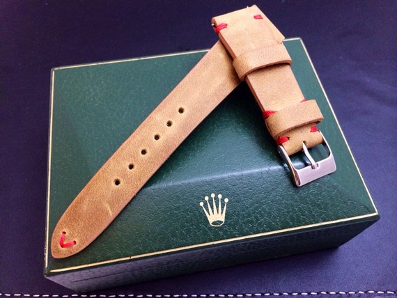Vintage handmade genuine leather watch Strap, watch band for Rolex, khaki, beige color, Red Stitching - 18mm/19mm/20mm lug, 16mm buckle