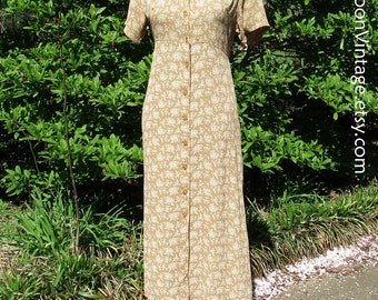 Vintage BOHO DRESS, Rayon GAUZE, Button-Down Midi, Ditzy Floral Grunge Dress, 90s does 30s, Golden Yellow Tan, Hippie Chic, April Cornell, S