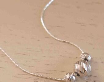 Silver Bead Necklace - Simple Silver Necklace - Delicate Silver Necklace - Minimal Silver Necklace - Thin SIlver Necklace - Dainty Necklace