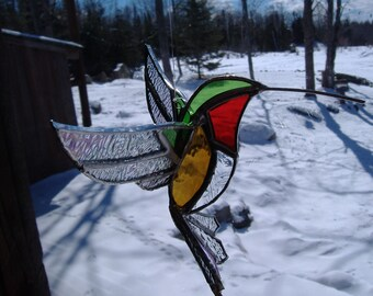 3D large hummingbird stained glass suncatcher