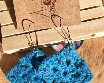 Blue Crochet Dangle Earrings