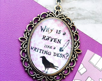 Why is a raven like a writing desk necklace - alice in wonderland quote - bookish necklace - book quote necklace - mad hatter necklace