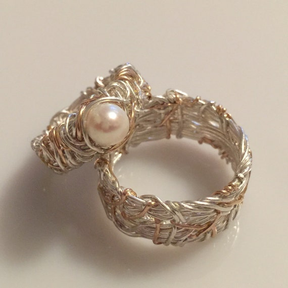 Items similar to 14K Gold Accent and Silver, His and Hers ...