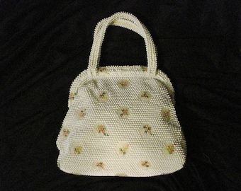 Vintage 40s Beaded Handbag Purse Floral Patters Opulent Chic Womens Accessory