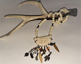 Bone and Pyrite Pendant Necklace