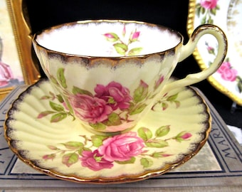 FOLEY tea cup and saucer yellow pink roses teacup swirl pattern