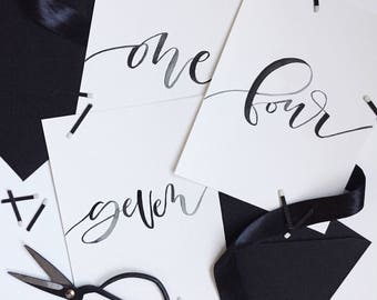Wedding Table Numbers, Calligraphy Table Numbers, Elegant Table Numbers, Wedding Reception Table Numbers, Wedding Decoration, Customizable