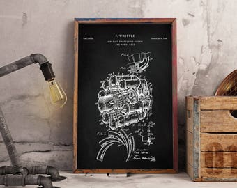 Jet Engine Printables, Aviation Decor, Jet Engine Patent, Airplane Decor - Wall Art