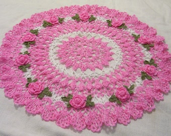 pink roses  centerpiece doily Made to Order