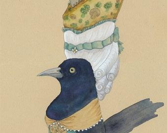 Blackbird Art Raven Print French Alphabet Letter Q Gothic Home Decor Creepy Cute Bird Art Crow Art Bird Gift Grackle Crow Gift Quiche Gift