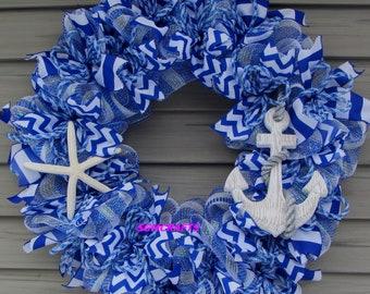 Starfish Beach Wreath Anchor Wreath Blue and White Nautical Wreath Beach Wreath Seashell Wreath Summer Wreath Beach Decor Anchor Decor