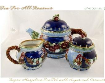 VINTAGE -  Vintage Repro Marjolica Teapot, Sugar and Creamer