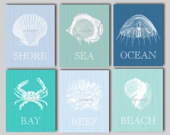 Beach Art, Beach Prints, Nautical Art, Nautical Decor, Beach House Art, Seashell Art, Seashell Print, Octopus, Fish, Crab