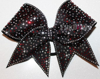 Gorgeous Red and Silver Rhinestone  Allstar Cheer Bow by FunBows !