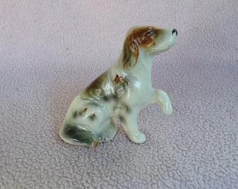 Vintage Porcelain English Setter Dog Figurine Made in Japan Handpainted