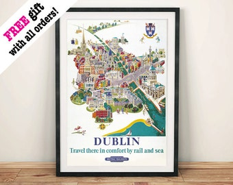 DUBLIN TRAVEL POSTER: Traditional Irish Tourism Map Advert, Art Print Wall Hanging
