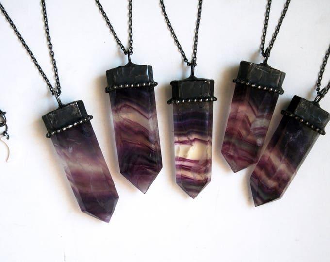 Rainbow Fluorite Crystal Tower Necklace
