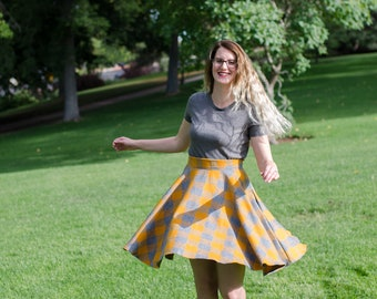 PREORDER ONLY Hufflepuff Inspired Gray and Gold Plaid Flannel Circle Swing Skirt