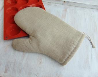 Linen fabric oven glove, kitchen mitt, kitchen textile