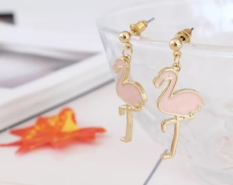 Gold tone pink flamingo drop dangle earrings