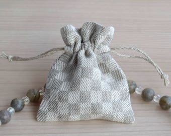 Travel jewelry pouch Small dice pouch Checkered pouch bag Linen drawstring bag Fabric gift bag
