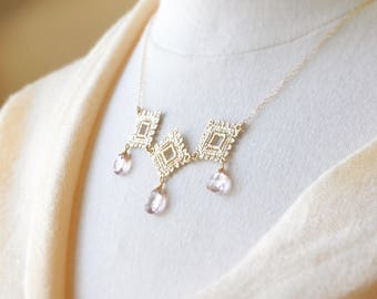 Gold Lace Necklace - Statement Necklace/ Gold Necklace/ Bib Necklace/ Wedding Jewelry/ Pink Stone Necklace/ Feminine Necklace