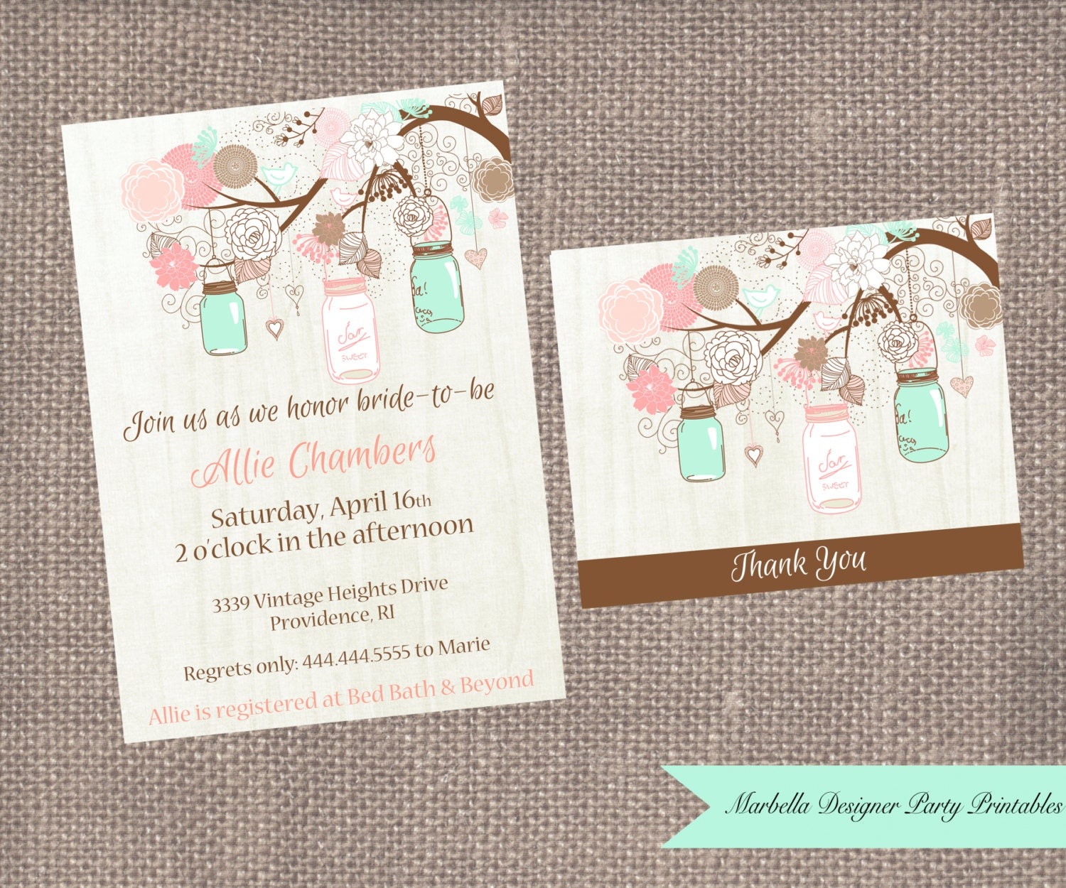 Mint Mason Jar Invitation/Mason Jar Bridal Shower