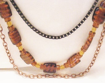 Necklace Long and Layered  Brown Tiger Glass with Copper and Black Chains, Jungle Necklace, Fall Colors by Cindydidit  OOAK