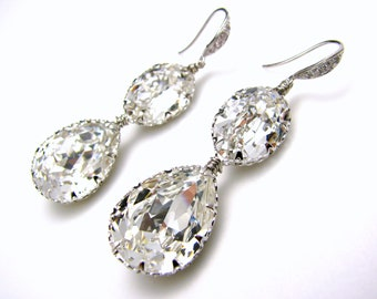 bridal wedding earrings Swarovski clear white oval and teardrop foiled rhinestone pendant with cubic zirconia silver hook double drop