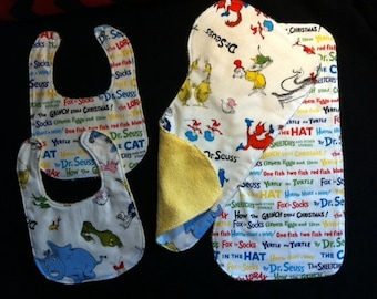 Dr Seuss Baby Gift Set Bib, Burp Cloth