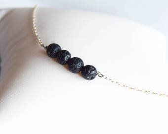 lava bead necklace, lava bead and silver necklace, lava stone necklace, lava jewellery, lava necklace, gemstone necklace, silver necklace