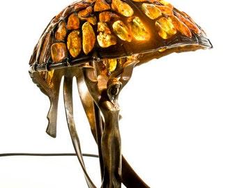Amber Lamp, Baltic Amber, Amber Glass Oil Lamp, Amber Glass Lamp, Stained Glass Lamp, Art Nouveau Lamp, Art Nouveau Decor
