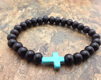 Turquoise Cross Bead with Rosewood Beads Stretch Mala Bracelet