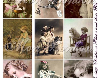 Digital Download of 9 Vintage Children and their Pets Collage Sheet ATC sized 2.5 x 3.5  - INSTANT DOWNLOAD