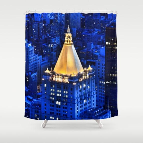 New York Life Building Shower Curtain, Manhattan Shower Curtain, Landscape, Urban, Bathroom, Modern, Blue Home Decor, Photography, City