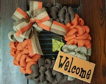 Welcome Wreath, Fall Wreath, Autumn, Fall, Fall Welcome, Welcome Fall, Burlap Fall, Burlap Fall Wreath, Welcome Sign, Orange, Wreath